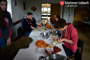 Am Nachmittag begann dann der langerwartete Kochwettstreit, bei dem zwei Gruppen antraten um aus den gegebenen Zutaten das beste Gulasch zu kochen....